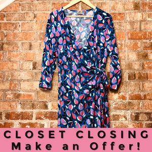 NWOT Anne Klein blue purple patterned wrap dress